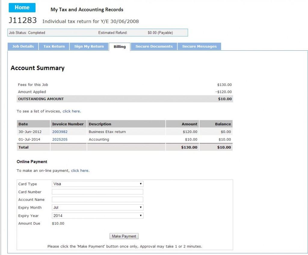 Как оплатить tax return карточкой на сайте