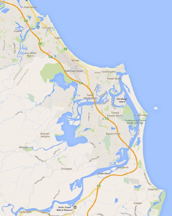 Карта Реки Твид до городка  Tumbulgum.