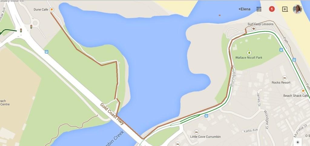 Важно после Currambin park выехать на мост через реку. Из парка на мост ведет дорожка.