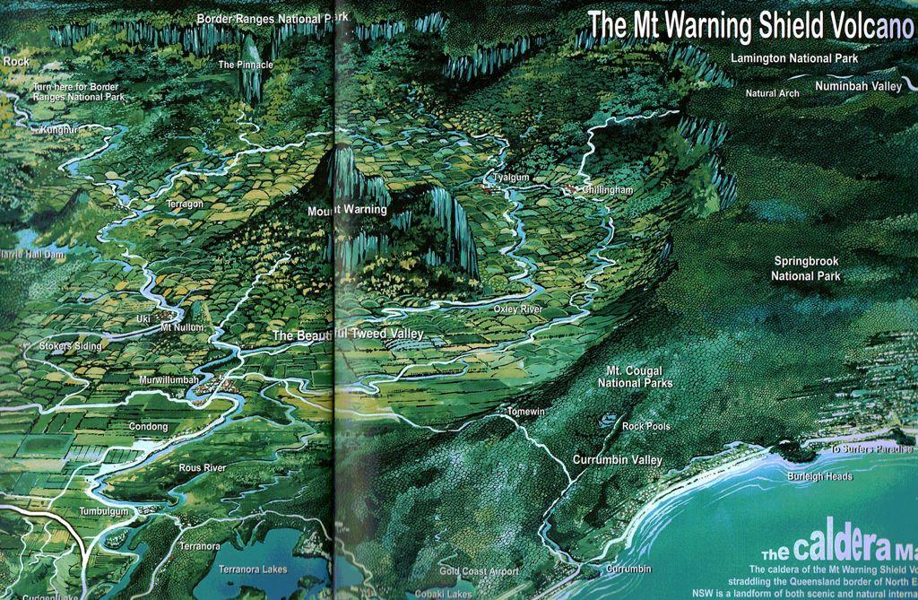 На этой картинке из рекламного журнала видно, что долина - это кратер старого вулкана. Copyright-Perfector Pty Ltd
